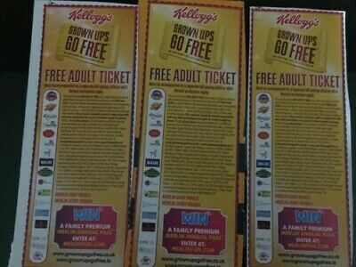 3 Kelloggs Merlin Free Adult Entry Vouchers - POSTAL ONLY