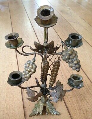 Beautiful 19Th-Century French Brass  Candelabra With Wheat And Grapes