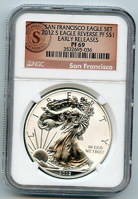 2012S Reverse Proof Silver Eagle Ngc Pf69 Early Releases San Francisco Label