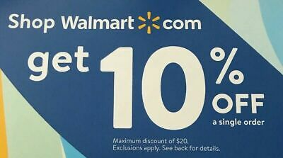 Walmart Coupon 10% Off Unique Code (expire 9/15/2019) e delivery or reg mail.