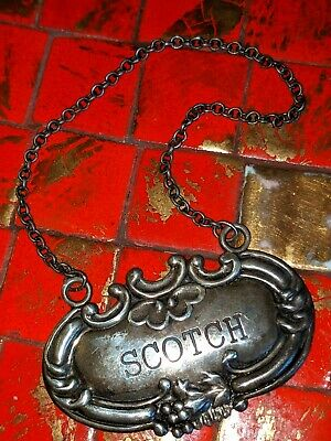 Wallace Sterling Silver Scotch Decanter Tag Label