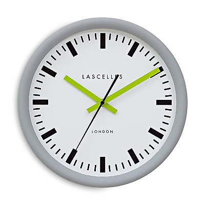 Roger Lascelles Clocks Wall Clock, Grey/Lime/White, Medium