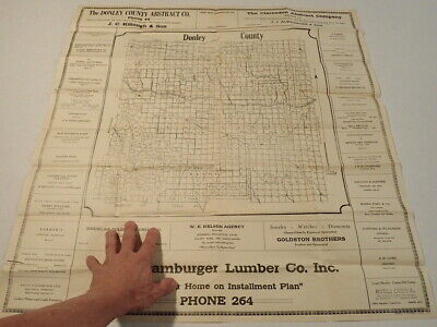 1920s Block Map DONLEY COUNTY TEXAS Clarendon D&P H&GN Railway 28 x 29.5 Adverts