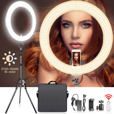 18 Inches Adjustable 2700-5500K Color Temperature Ring Light, SAMTIAN Dimmable