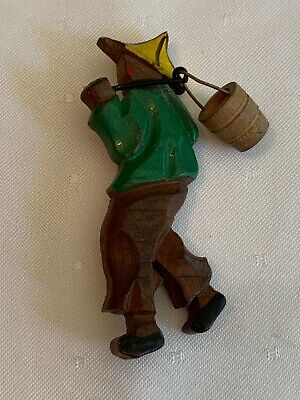 Vintage Wood Carved Pin Brooch ASIAN ORIENTAL MAN CARRYING BUCKET Water Carrier