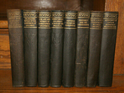 The Works Of Washington Irving 1900s Antique Lot of 8 Hardcover Book Set