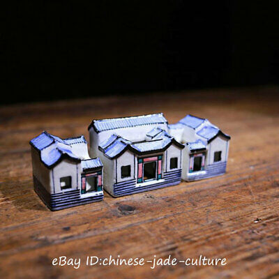 "5"" Old Chinese Blue White Porcelain Handwork Classic Vintage House Statue Set"