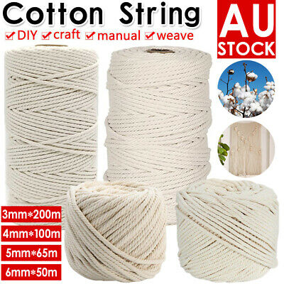 3/4/5/6mm Natural Cotton Rope Cord String Twisted Beige Craft Macrame Artisan AU