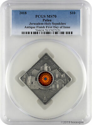 2018 $10 Palau Sacred Art Holy Sepulchre 50g .999 Silver Coin PCGS MS70 FD