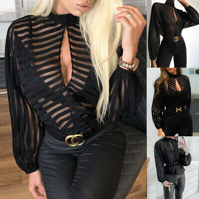 UK Women Mesh Lace Sexy Sheer Long Sleeve Hallow Out Blouse Casual Clubwear Tops