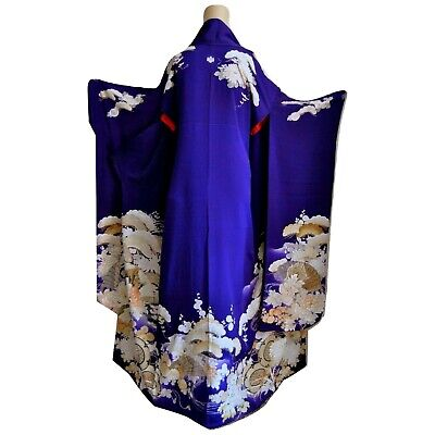 Antique Purple Silk Kimono Japanese Furisode with Embroidery and Flowers