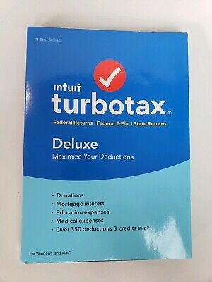 TurboTax Deluxe 2018 Tax Software eFile State + Federal Windows / Mac Disc