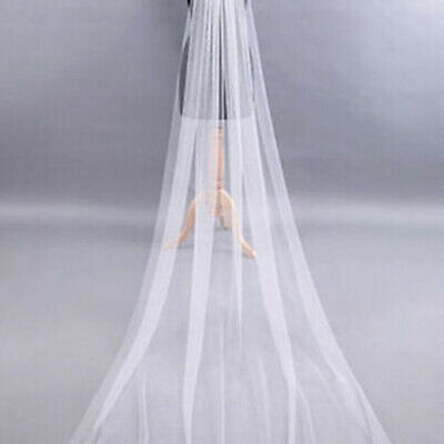 AU Long Prom Gown Simple Wedding Bridal Veil Cathedral With Comb 2M Good