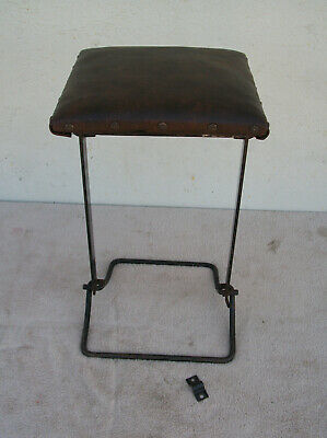 Antique / Vintage Metal & Wood Fishing Fold Up Chair / Stool Heavy Duty