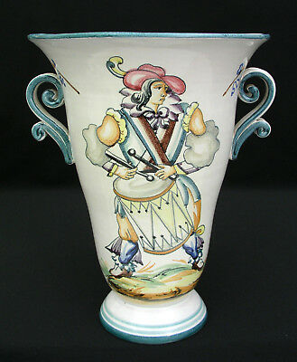 Italian Majolica Faience Vase W/ Handles - Drummer - Hand Crafted Numbered