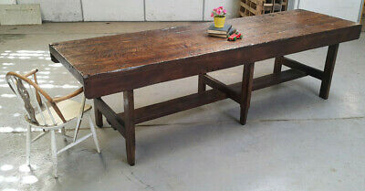 Huge 10ft  Antique Pine Carpenters Bench - Refectory Table - Shop Display