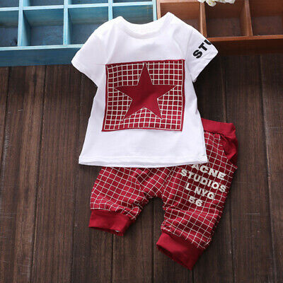 Toddler Kids Baby Boy Clothes Infant Boy Outfits Sets Short T-Shirt + Pants Tops