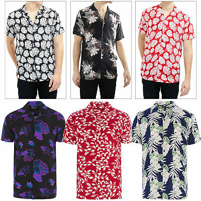 Brave Soul Mens Designer Stylish Tropical Hawaiian Floral Print Casual Shirt