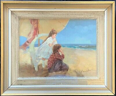 FINE MID 20thc ANTIQUE FRENCH IMPRESSIONIST CHILDREN ON THE BEACH OIL PAINTING