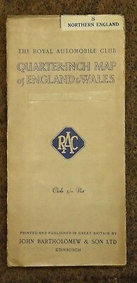 vintage RAC Bartholomew quarter inch map of england  8 north england cloth