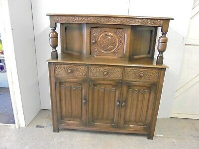 """Solid Oak Carved Court Cupboard- 50"""" Wide x 19.5"""" Deep x 56"""" Tall- Lovely Piece"""