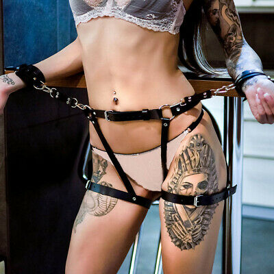 Women Faux Leather Harness Suspenders Belt Garters BDSM Leg Cage Body Bondage