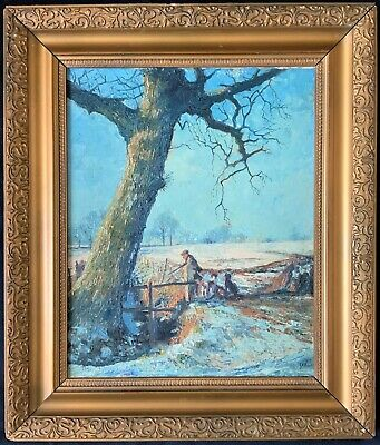 The Hunter & his Hounds SUPERB 1973 20thc WINTER SHOOTING LANDSCAPE OIL PAINTING