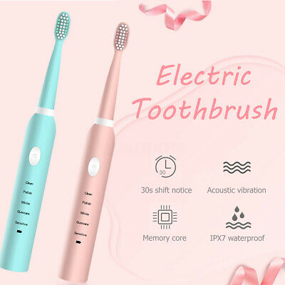 Sonic Electric Toothbrush Pink USB Rechargeable 5 Modes Smart Timer 6/8 Heads