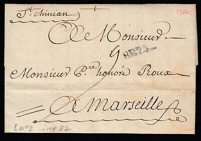 Marque Manuscrit St Chinian Herault + Beziers Rare Indice 22 Lettre Cover France