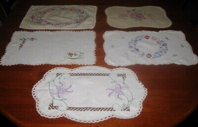 4 Large Vintage Hand Embroidered Table Centre Pieces/Doilies~Linen~Lace Edged(C