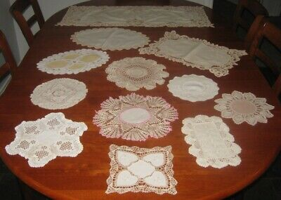 Vintage Cotton Lace Edged Doilies & Table Runner ~ 12 Pieces ~ Shades Of Cream