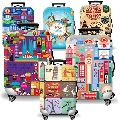 Printed Travel Suitcase Protective Cover Luggage Protector Elastic Dust proof