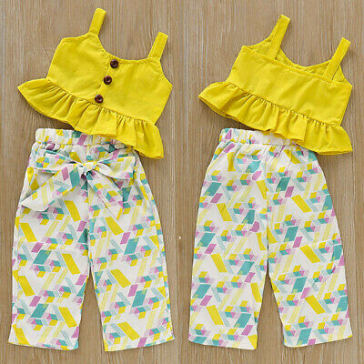 Summer Toddler Baby Girls Sleeveless Tops Shirt + Trousers Pants Clothes Outfits