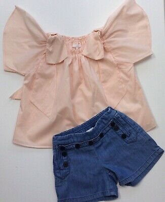 Chloe Girls Outfit Denim Shorts Peach Blouse Age 8