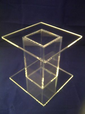 """Square Perspex® Acrylic Cake Stand Separator Single Stem 4"""" High Polished Edges"""