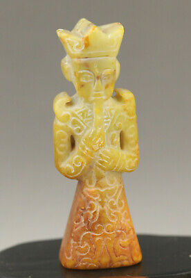 Old Chinese natural jade hand-carved ancient solider