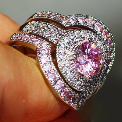 CO_ Charm Two Tone Round Cubic Zirconia Inlaid Ring Bridal Wedding Jewelry Gift