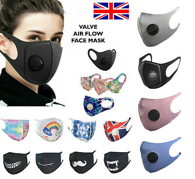 Black Air Flow Face Mask Surgical Disposable Reusable Washable with Filter