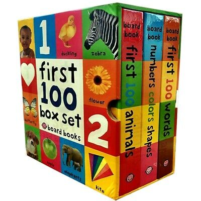 First 100 Soft to Touch Words, Animals, Colours Shape 3 Books Collection Box Set