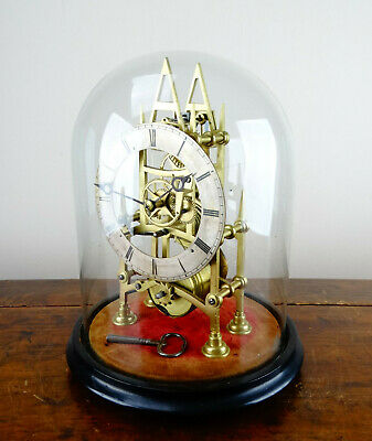 Antique English Victorian Gothic Fusee Skeleton Clock Glass Dome 8 Day Movement