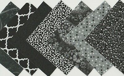 40 piece Charm Pack 5 Inch Squares black, white and gray quilt,sew,fabric