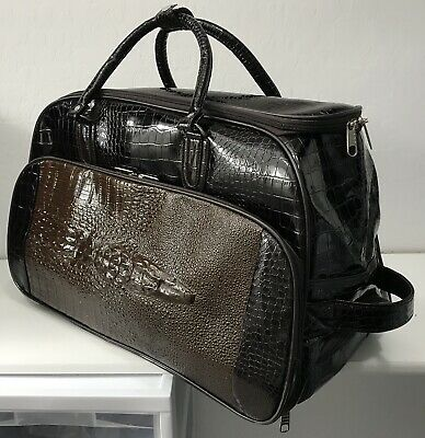 2 Wheeled Rolling Trolley Duffle Bag Style Carry On Luggage In Brown Mock Croc