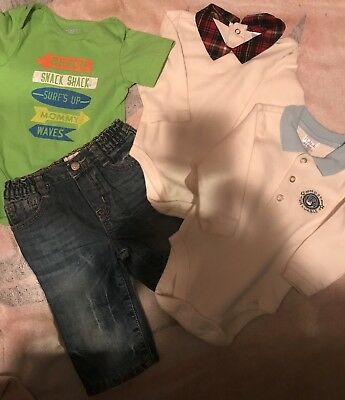 Baby Boys Children's Place Size 3-6 Months Lot Jeans Shirts GUC