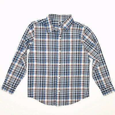 JANIE & JACK Boys Size 6 Blue White Black Red Plaid Long Sleeved Buttoned Shirt