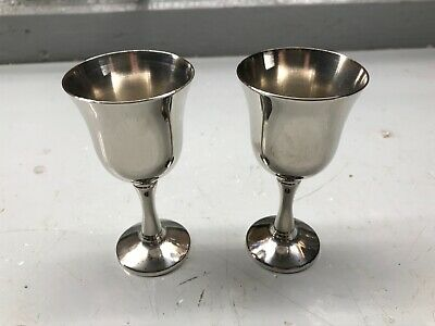 "2 STERLING SILVER GOBLETS 3 11/16"" tall"