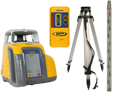 *NEW* Spectra Precision LL300N Rotary laser Level, Detector, Tripod & 5m Staff