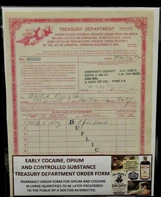 Authentic 1942 Us Treasury Dept. Order Form For Opium & Controlled Substances