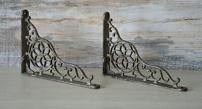 Vintage Cast Iron Shelf Brackets (2), Architectural Salvage, with Rusty Patina