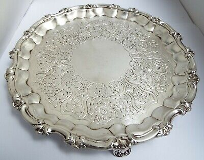 "Superb Large 9"" Heavy English Antique Georgian 1834 Sterling Silver Salver Tray"