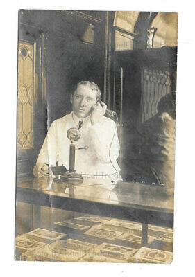 Antique RPPC Dude/Bro/Bartender in Old Saloon/Bar w/Candlestick Telephone c1905